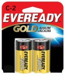 "2 PACK ""C"" CELL EVEREADY GOLD ALKALINE BATTERIES"